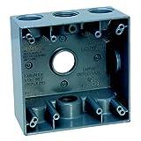 Sigma Electric 14352 3/4-Inch 3 Hole 2-Gang Box, Grey