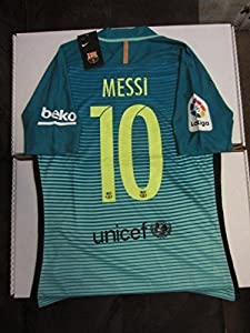 2dd11fb17 ...  10 FC Barcelona La Liga Club Champions Patches Authentic Vapor Match  Aeroswift Player Issue Version Small Green Glow Third 3rd Soccer Jersey 2016  2017