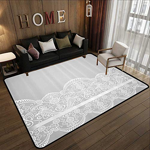 (Silky Smooth Bedroom Mats,Grey Decor,Victorian Fashion Style Wedding Ethnic Mesh Paisley Motif Renaissance Kitsch Artwork,White 47