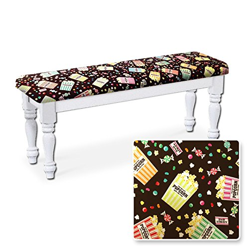 New White Finish Wooden Bench Featuring Your Choice of Padded Seat Cushion Theme! by The Furniture Cove