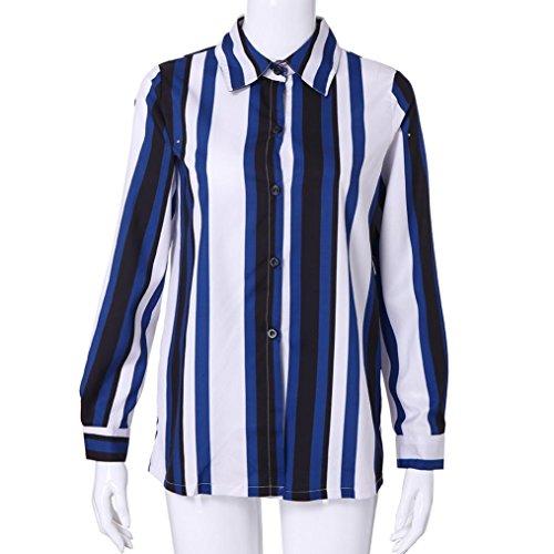 Tops Revers V Up T Raye Bouton Automne Blue Chemisier Shirt col t Manches Chemise Femmes fragra Occasionnels en H Longues txwAq68vv