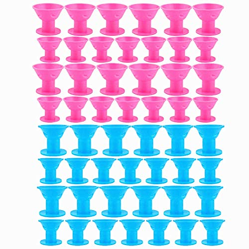 TANG SONG 40PCS Hair Curlers Rollers Hair Care Roller Silicone No Clip Hair Style Rollers Soft Magic DIY Curling Hairstyle Tools Hair Accessories (Pink & Blue)