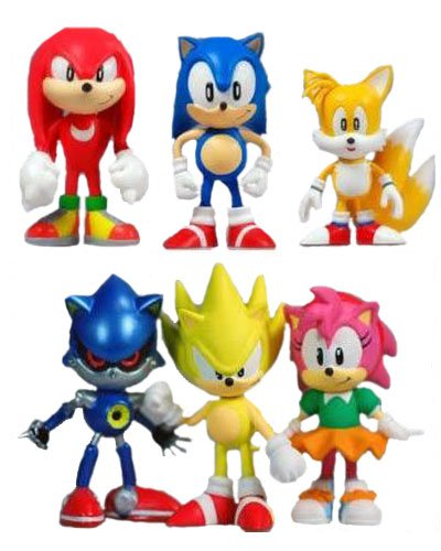 Sonic Action Mini Figures Play Set Birthday Party Supplies - Knuckles, Sonic, Super Sonic, Amy, Metal Sonic and Tails - 6 pcs - 2 Inch (Party Supplies Ville)