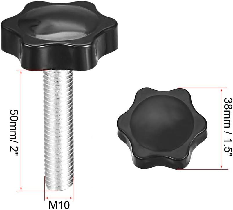 Sourcing map Lot de 2 boutons de serrage r/églables M12 x 50 mm
