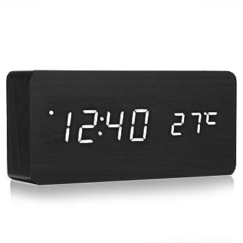 WYFDZBD Despertador Luz Nocturna Control De Sonido Hora Temperatura Calendario USB Mesa De Escritorio Noche Negro Madera Led Reloj Título Original En ...