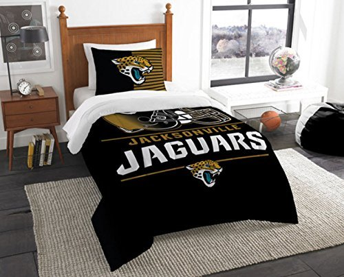 Jacksonville Jaguars Bedding Set Sham NFL 2 Piece Twin Size 1 Comforter 1 Sham Football Linen Bedroom Decor Imported for True Fans Draft