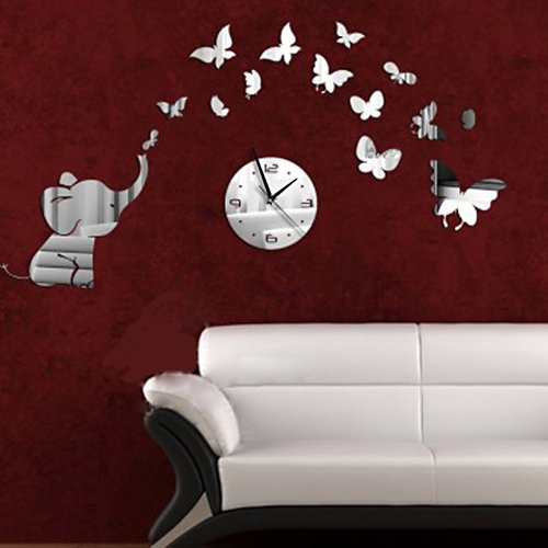DIY Decorative Modern Mirror Wall Clock Sticker Acrylic Room Silent Large New Bedroom Livingroom Children Office Decore Elephant Butterfly White Round Advance Numbers Self Black Hand Universal 2014