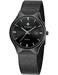 Men's Analog Quartz Watch Ultra Thin Dial Date Stainless...