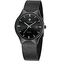 WWOOR Men's Analog Quartz Watch Ultra Thin Dial Date Stainless Steel Mesh Belt Waterproof (Black B)