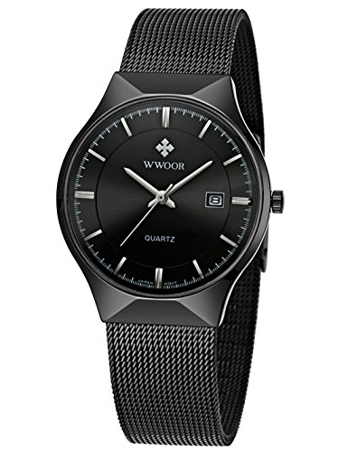 WWOOR Men's Analog Quartz Watch Ultra Thin Dial Date Stainless Steel Mesh Belt Waterproof (Black B)