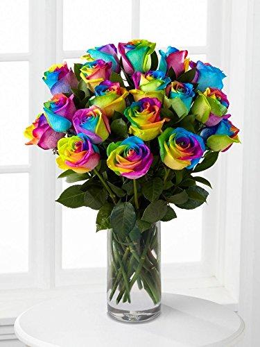 Farm Direct Fresh Rainbow Roses | 12 Fresh Rainbow Roses Flower Bouquet + Vase - Fresh Cut Flower Delivery