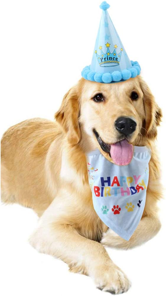 Blue Bello Luna Happy Birthday Bandana Scarfs and Cute Party Hat for Dogs Pet Birthday Gift Decorations Set