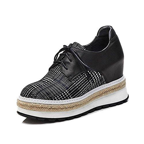 KJJDE Zapatos con Plataforma Mujeres WSXY-A0301 Correa De Sujeción Artesanía de Paja Black