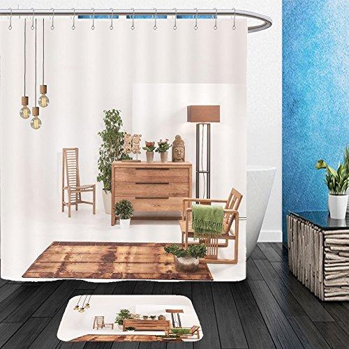 Vanfan Bathroom 2Suits 1 Shower Curtains & 1 Floor Mats natural wood furniture white wall decor modern lamp 518552563 From Bath room 2 Light Avalon Bath