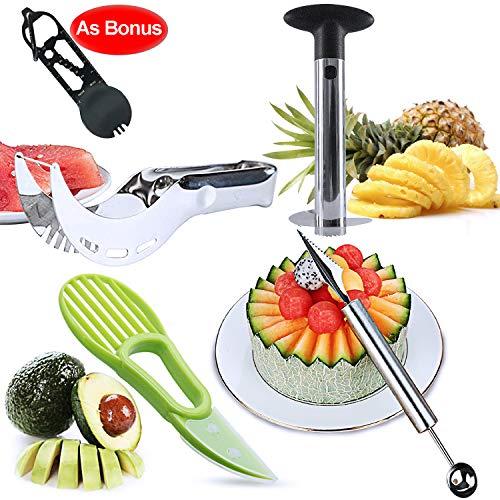 Lasten Fruit Slicer Peeler Set of 5,Stainless Steel Pineapple Corer, Watermelon Slicer, Avocado Slicer, Carving Knife&Melon Baller Scoop and Outdoor Spork, Kitchen Fruit Tools Set