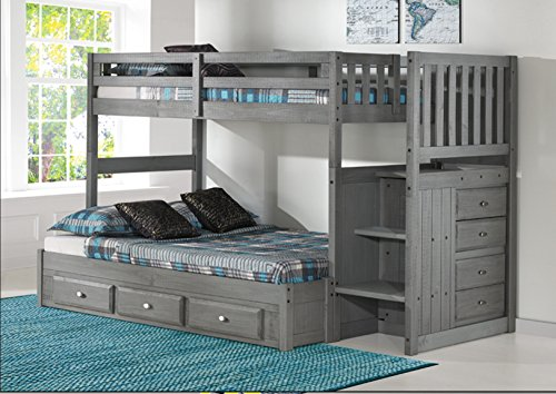 iture Charcoal Twin Over Full Stair Bed with 3 Drawers ()