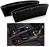 SkyRox Car Seat Gap Filler and Pocket Organizer - STOP DROPPING of Items in Between Seat and Console -Premium PU Leather Catch Caddy - Extra Storage Car Interior Accessories (2Pcs) Accessories SkyRox