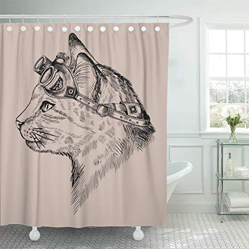 Semtomn Shower Curtain Waterproof Polyester Fabric 66 x 72 inches Cat Portrait Steam Punk Blue Eyes Retro Glasses in Etching Set with Hooks Decorative Bathroom ()
