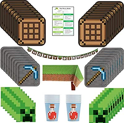 Minecraft Pixel Birthday Party Supplies Pack: Big/Small Plates, Cups, Napkins, Table Cover, Banner - 16 Guests