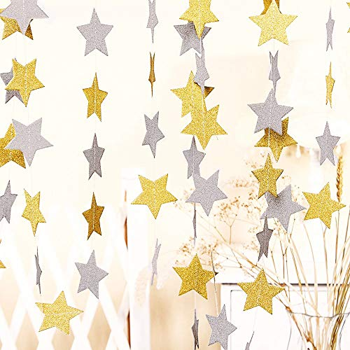 50 ft Twinkle Star Paper Silver & Gold Garland Bunting Banner Hanging Glittery Decoration, Decor for Birthday Party Baby Shower Christmas Weddings Christenings Barbecue Fetes Gard - 6 Pack]()