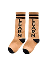 Elonglin Unisex Baby Kids Coton Long Socks Infants Toddler Selected Cartoon Printing Socks Non-Slip Stocking Leg Warmers With Feets For 3-5 years Orange