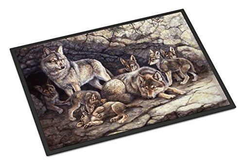 Mat Door Wolf - Caroline's Treasures Wolf Wolves by the Den Indoor or Outdoor Mat 18x27 BDBA0157MAT 18