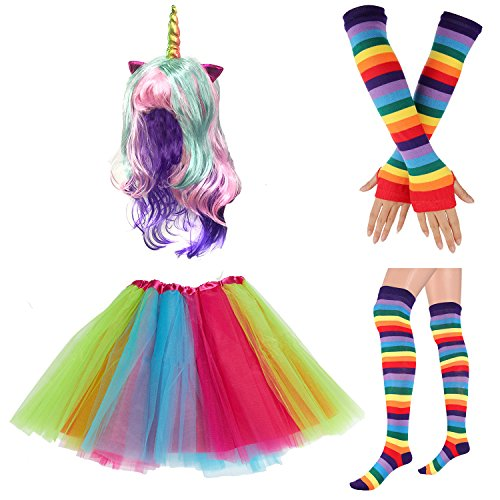 80s Womens Accessory,Tutu Skirt,Unicorn Headband, Unicorn Wigs Rainbow Long Gloves Socks,Rainbow Adjustable Suspenders w/Bow-tie (2-D) -