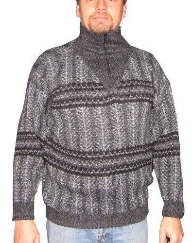 Alpakaandmore Mens Thick Turtleneck Pullover Peruvian Alpaca Wool Grey Tones (X-Large)