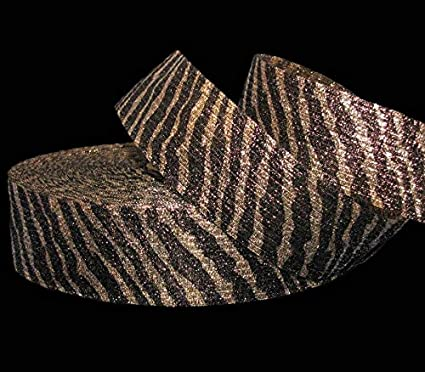 "5 Yards Animal Print Tiger Stripe Gold Brown Metallic Safari Wired Ribbon 3/""W"