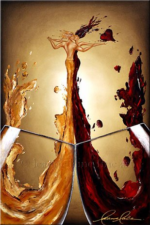 An Intimate Toast - Authentic Leanne Laine Signed & Textured Stretched Canvas Limited Edition Giclee Art Print of her Original Acrylic on Canvas Woman and Man in Wine Painting (Signature Series)