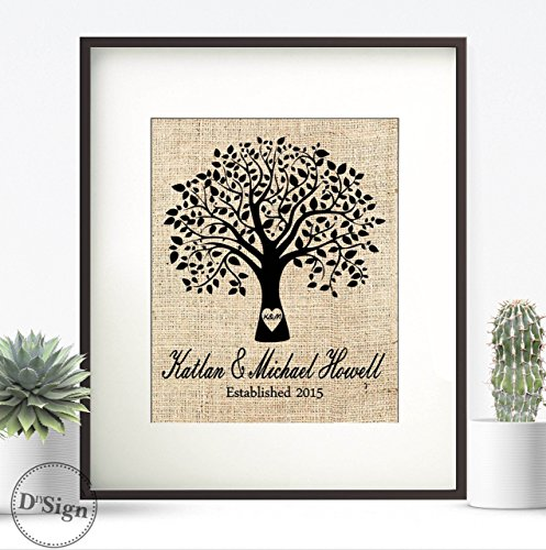 Personalized Burlap Print Family Tree Name Sign Wedding Established Date, Burlap Wall Decor, Farm Home Sign, Country Chic Wedding Gift, 8x10 Print Matted in 11x14 Picture Frame