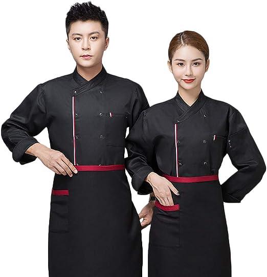 WYCDA Chaqueta de Chef/Cocinero Manga Larga Negro Blanco Rojo ...