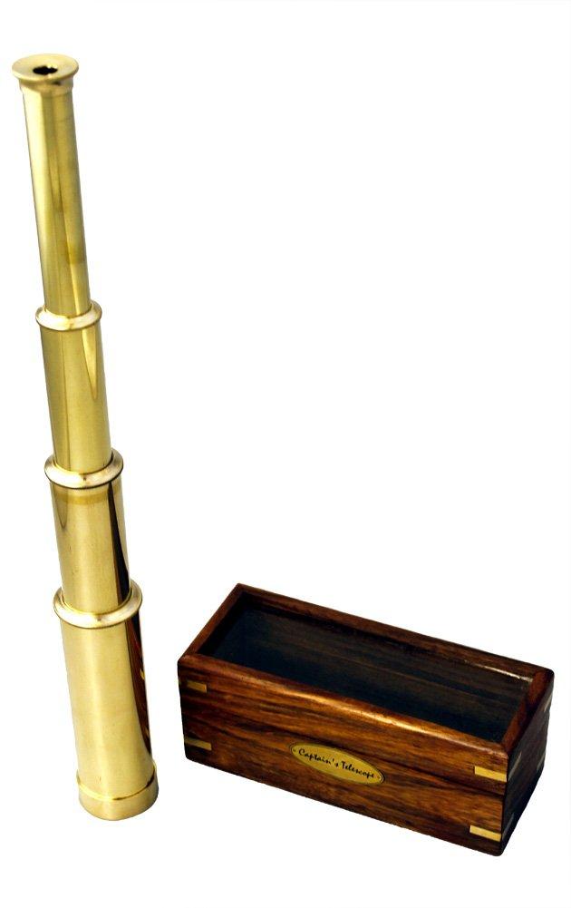 15'' Handheld Brass Telescope with Wood Box - Nautical Captain