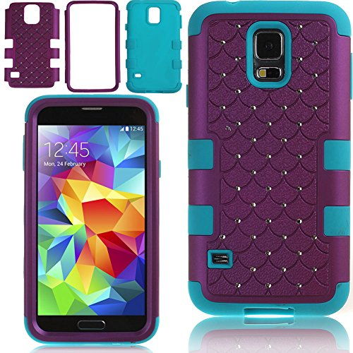 Case for Samsung Galaxy S5,Cover for Galaxy S5,Case for Samsung I9600,Hybrid Case for Samsung Galaxy S5,Hard Case for Samsung Galaxy S5,NSSTAR Full-body Inlaid Shiny Bling Crystals Rhinestones Rugged Shockproof Dirtproof Soft Silicone and Hard Plastic 3In1 Hybrid High Impact Bumper Hard Back Case Cover for Samsung Galaxy S5 I9600 (Purple)