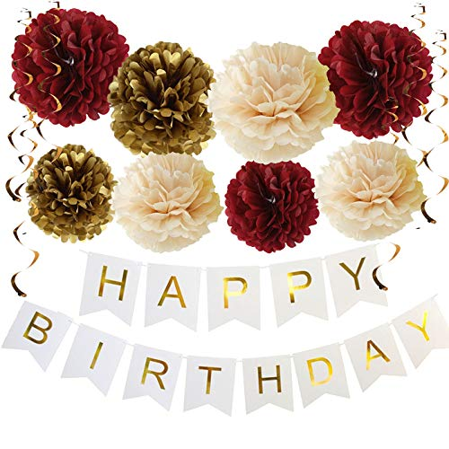 Fall Birthday Party Decorations Burgundy Champagne Gold Tissue Pom Pom Happy Birthday Banner Burgundy Birthday Decorations (Burgundy Champagne Gold)]()