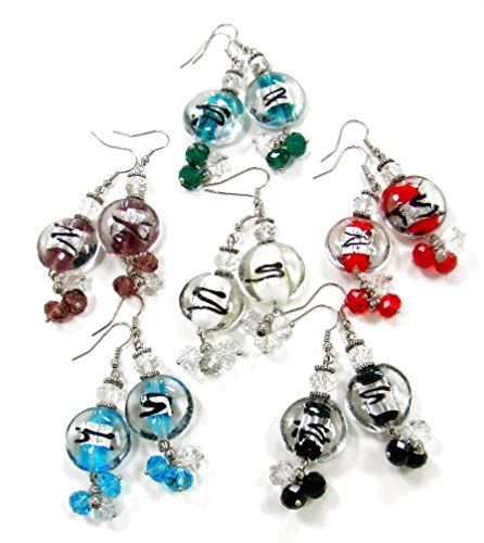 Lampwork Crystal Silver Earrings - Linpeng/ Woman's Earrings/Lampwork Glass Beads Drop Earrings/Silver Foil Center/Round Beads 20mm/Faceted Crystal 8mm/Length Around 1.25