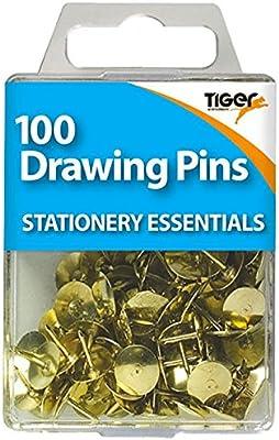 Tiger : Brass Drawing Pins : Pack of 100: Amazon.es: Oficina y papelería