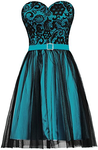 Dress Teal Homecoming (ANTS Women's Black Tulle Lace Evening Prom Dress Short Party Dress Size 10 US Teal)