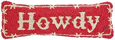 Chandler 4 Corners Artist-Designed Howdy Hand-Hooked Wool Decorative Throw Pillow 8 x 24