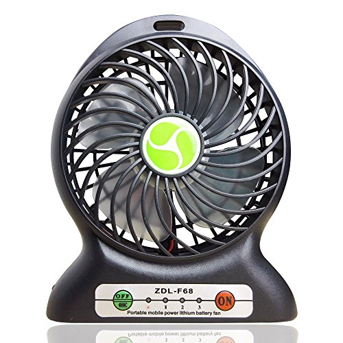 INVESCH Portable Lithium Battery Fan 4-inch Vanes 3 Speeds Rechargeable Desktop Fan (Black) (Portable Cordless Fan compare prices)