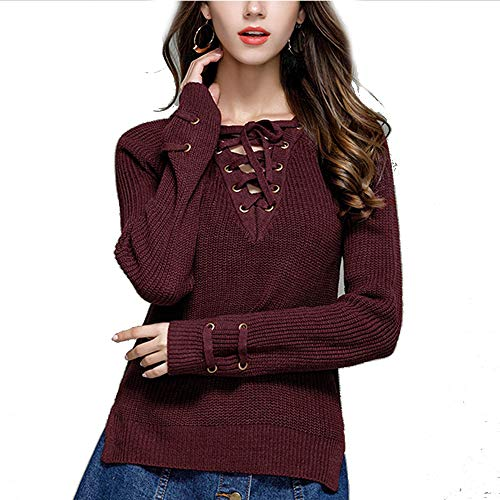 YoungG-3D Women Knitwear Sweaters Shirt Long Sleeve V-Neck Cross Ties Solid Sweater Thin Sweaters Shirts Wine Red M ()