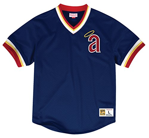 Los Angeles Angels Mitchell & Ness Men's Mesh V-Neck Jersey Navy (Medium)