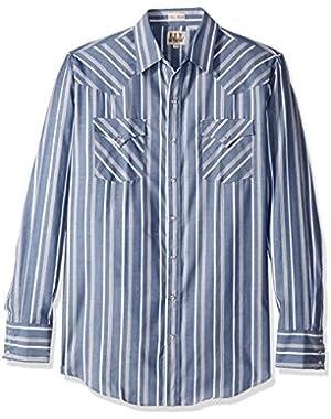 Men's Size Long Sleeve Stripe Western Shirt - Tall,