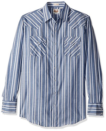 - Ely & Walker Men's Size Long Sleeve Stripe Western Shirt-Tall, Blue, X-Large