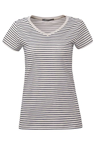Glostory Women's Casual V-Neck Striped Tops Short Sleeve Summer Blouses Tee Shirt 2166 (XS, White/blue narrow striped)