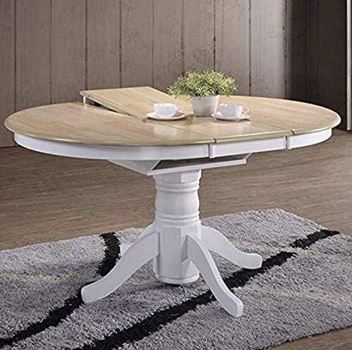 Mesa de comedor extensible, grande, redonda, de madera maciza, de ...