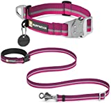 RUFFWEAR TOP ROPE STRONG REFLECTIVE COLLAR & SLACKLINE LEASH COMBO ♦ WAIST WORN OR HAND HELD ADJUSTABLE LEASH ♦ ALL SIZES AND COLORS (Small, Purple Dusk)