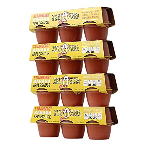 Zee Zees Applesauce Cups, Strawberry Banana, 4 oz Cups, 24 pack - Single Serve Strawberry