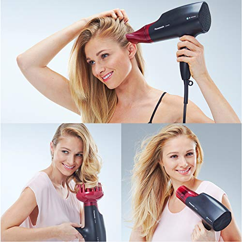 Panasonic EH-NA65-K Nanoe Dryer, Professional-Quality with 3 attachments Including Quick Blow Dry Nozzle for Smooth, Shiny Hair, Pink