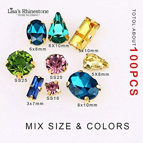 Pukido Mix Color Shapes Sew On Rhinestone Glass Crystal with Gold Claw Setting Strass Diamond Stones DIY Wedding Dress Decoration - (Color: Random Mix 100pcs) ()